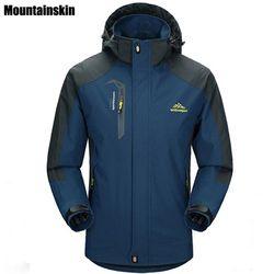 Mountainskin 5XL Jaket Pria Musim Semi Tahan Air Berkerudung Mantel Pria Wanita Pakaian Luar Tentara Padat Santai Merek Pria Pakaian SA153