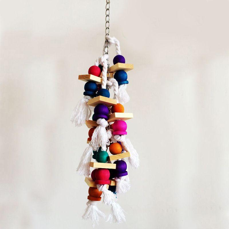 Mode oiseaux colorés perroquet jouets à mâcher balançoire en bois escalade l'échelle 38 cm Cage à oiseaux accessoires