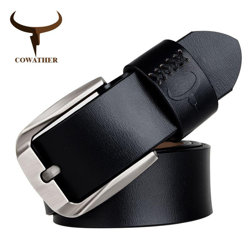 Cowboy vache en cuir véritable hommes ceintures boucle ardillon pour homme noir brun café de haute qualité en alliage nouveauté livraison gratuite