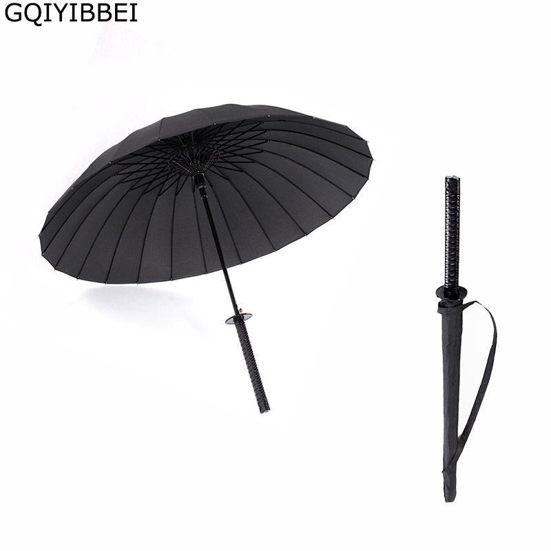 GQIYIBBEI Creative longue poignée grand coupe-vent samouraï épée parapluie japonais Ninja-like soleil pluie parapluie droit manuel ouvert