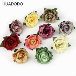 Huadodo 3 cm mini cabeza de flor de Rose flores artificiales para decoración de la boda flores falsas del arte 30 unids/lote