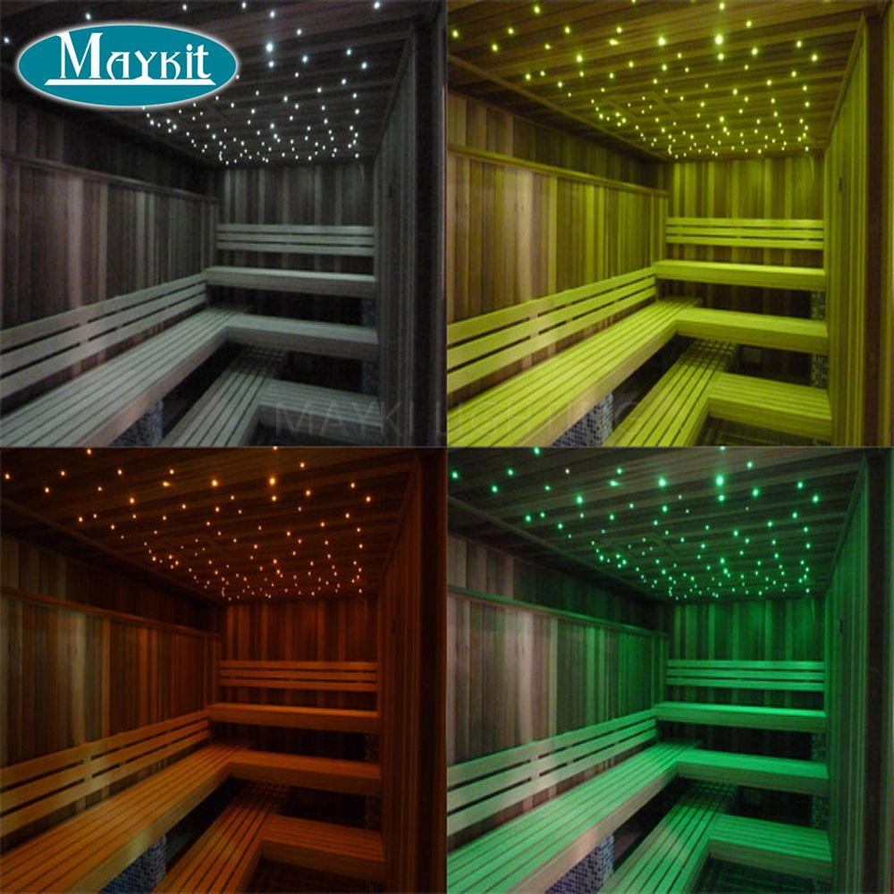 Maykit LED 5W Fibre Light Engine With 1.5mm 2m End Lit Strands For Sauna Star Ceiling Bedroom Bathroom Steam Room Decoration