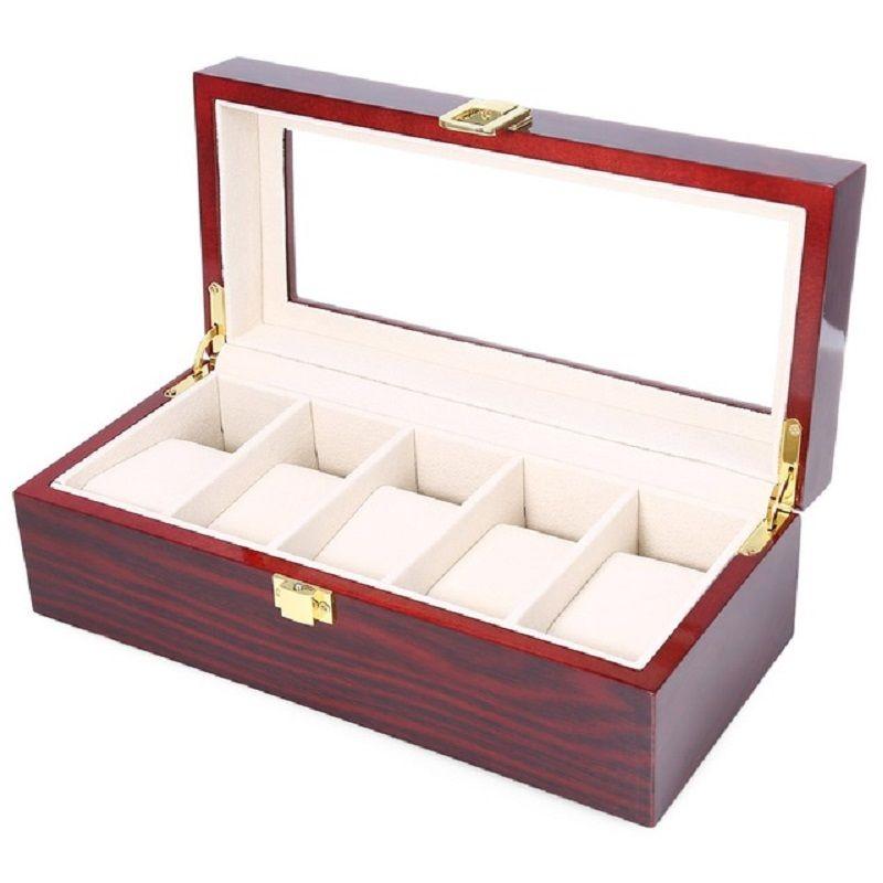 Haute Qualité Montre Boîtes 5 Grilles En Bois Montre Affichage Piano Laque Bijoux Organisateur De Stockage De Bijoux Collections Cas Cadeaux