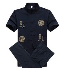 Musim Panas Tradisional Cina Katun Pria Wu Shu Pakaian Bordir Kemeja & Celana Kung Fu Tai Chi Perapi M L XL XXL XXXL