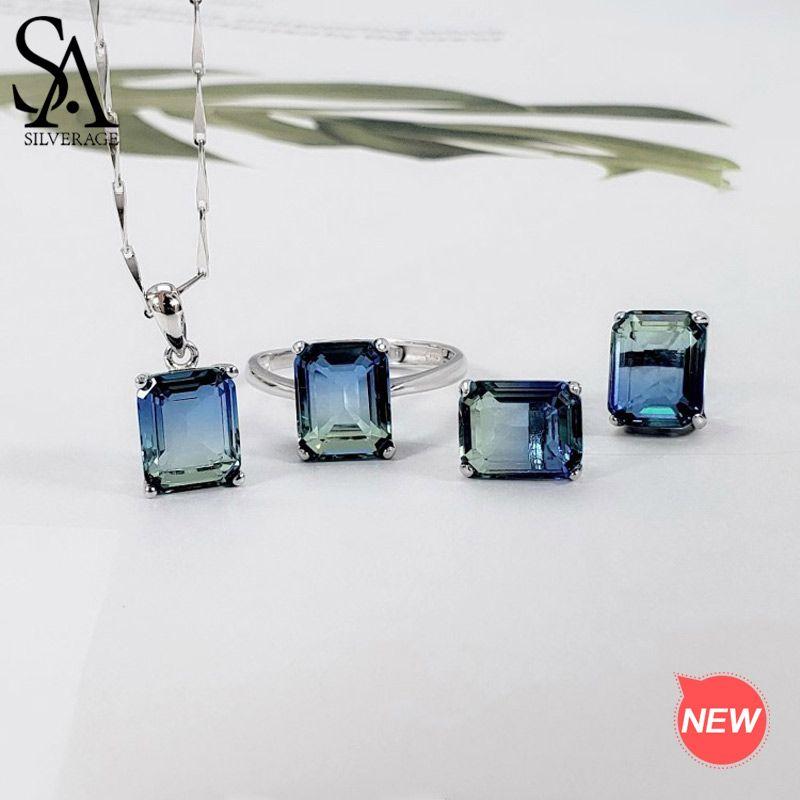 SA SILVERAGE 925 Sterling Silber Rechteck Gradienten Stud Ohrringe Halsketten Ringe Schmuck für Frau Bunte Silber Schmuck Sets