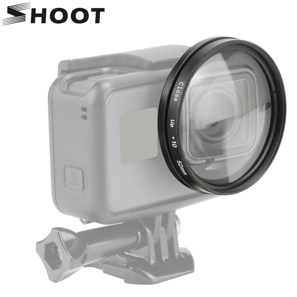 SHOOT 52mm loupe Macro gros plan objectif pour GoPro Hero 7 6 5 noir Action caméra support pour Go Pro Hero 6 5 7 accessoires Kits