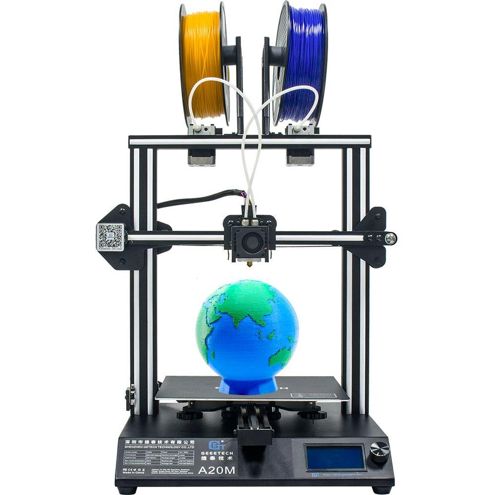 GEEETECH A20M 3D Drucker mit Mix-Farbe Druck, Integrierte Gebäude Basis & Dual extruder Design und Filament Detektor