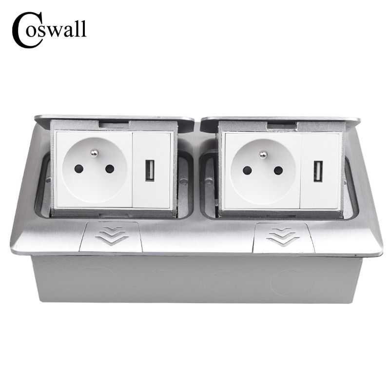 COSWALL Alle Aluminium Panel Pop Up Boden Sockel 16A Französisch Standard Power Doppel Outlet Mit 2 USB Lade Port