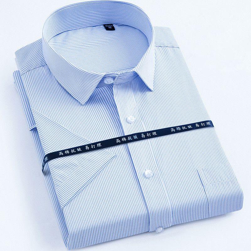 Nouveau arrivé 2018 travail hommes chemises marque à manches courtes rayé/twill chemise hommes robe chemise blanc homme 4xl hommes chemise décontracté Slim