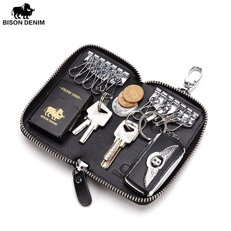BISON DENIM Key Organizer Genuine Leather Keychain Wallet Men Women Multifunctional Car Key Pouch Luxury Brand Housekeeper N9390