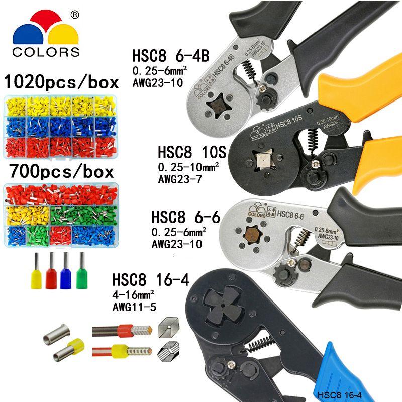 Outils de sertissage pince électrique bornes tubulaires boîte mini pince HSC8 10S 0.25-10mm2 23-7AWG 6-4B/6-6 0.25-6mm2 16-4 ensembles d'outils