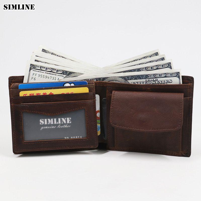 Portefeuille homme en cuir véritable SIMLINE Rfid bloquant les portefeuilles de à deux volets courts en cuir de vachette Vintage porte-carte avec poche à monnaie homme