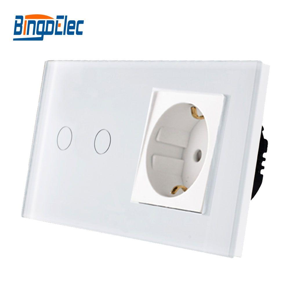 Bingo EU interrupteur standard prise, interrupteur tactile et prise EU 110-250 v allemagne prise, offre spéciale