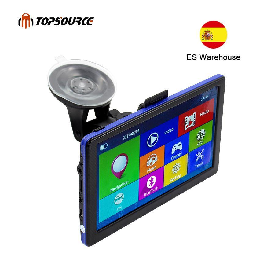 TOPSOURCE 7 zoll Auto GPS Navigation Kapazitiven bildschirm FM Gebaut in 8 GB Karte Für Europa/USA + Kanada lkw fahrzeug gps Navigator C6