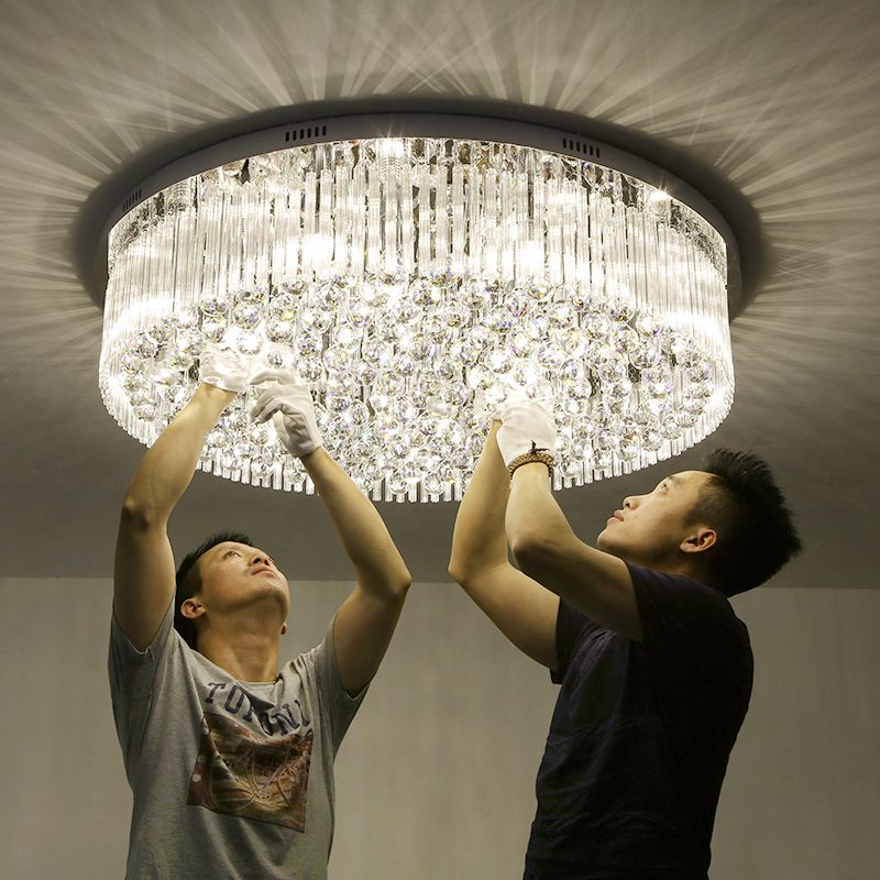 Living room lights crystal lamps round ceiling lamps modern simple bedroom lights warm hall lights restaurant lights lamps led