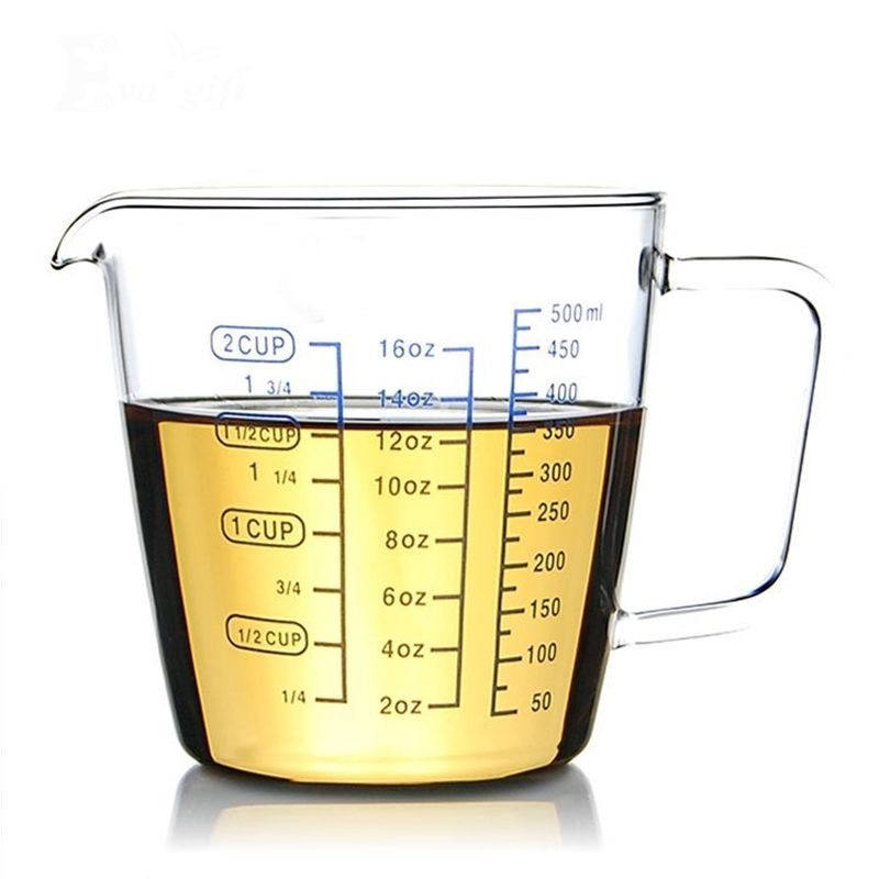 Glass Measuring cup With a scale/glass Milk/ transparent heat Baking/can microwave/red milk cup/kitchen measuring cups for bar