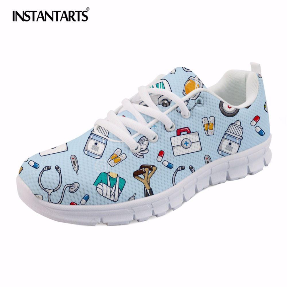 INSTANTARTS Spring Nurse Flat Shoes Women Cute Cartoon Nurses Printed Women's Sneakers Shoes Breathable Mesh Flats Female Shoes