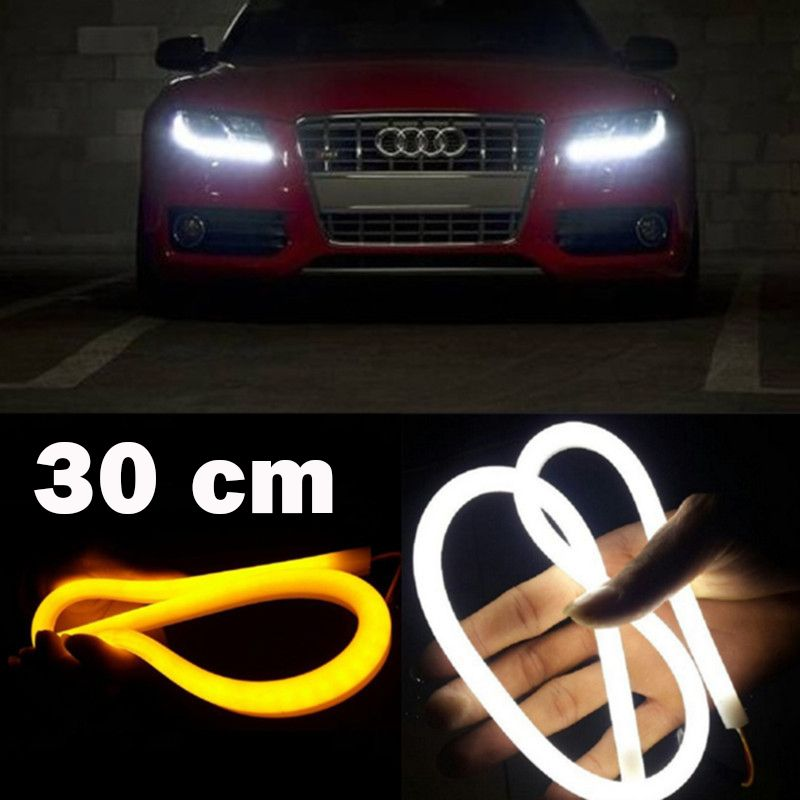 2Pcs/Set SUNKIA Flexible 30CM LED Car Daytime Running Light LED DRL Single/Dual Color Day Light Angel Eye Lamp Free Shipping