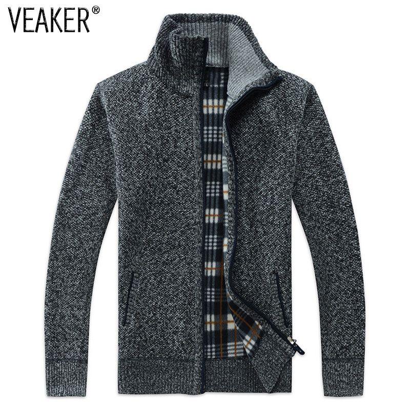 2018 Automne Hiver Hommes SweaterCoat de Faux Fourrure Laine Chandail Vestes Hommes Zipper Tricoté Épais Manteau Casual Tricots M-3XL
