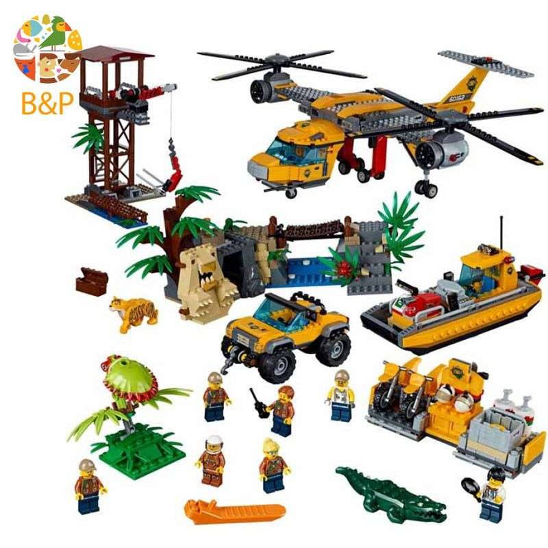 lepin Legoing 60162 1400pcs City Police series The Jungle Air Drop Helicopter Building Block Toy For Children Gift 02085