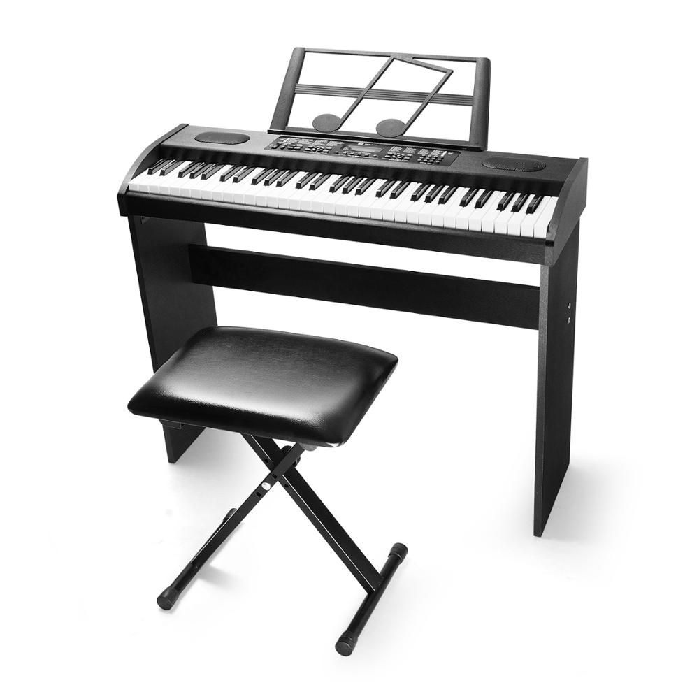 Electronic Piano Keyboard Digital Bundle, 61 Key LCD Display with X-Style Bench, FROM EU US CA