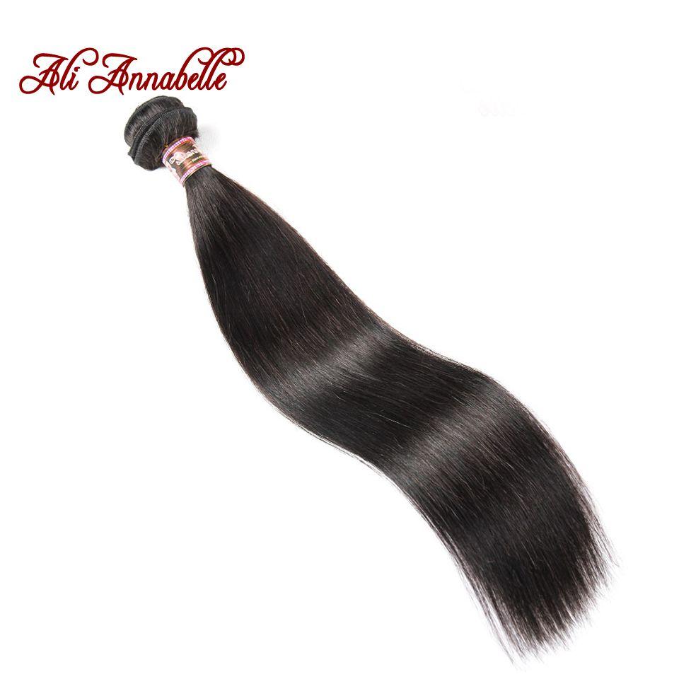 Али ANNABELLE волос бразильский Прямо Человеческие волосы 100% Волосы Remy переплетения расслоения натуральный черный 10