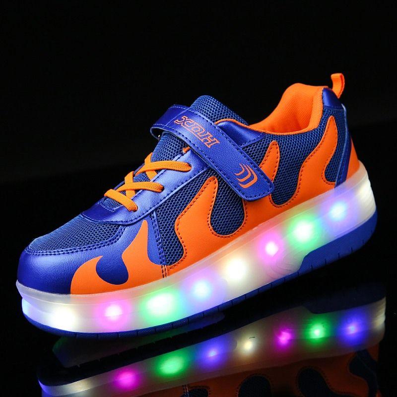 Zapatilla de Suela TPR Doble Rueda Brillante LED Luz Zapatos Casuales Niños Niñas Plena Luz Flash Al Aire Libre 28-40 Gancho y lazo azul negro