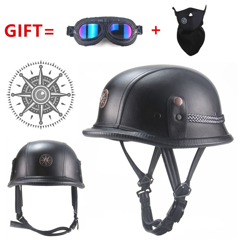 FREE SHIPPING Black Adult  Open Face Half Leather Helmet   Moto Motorcycle  Helmet vintage Motorcycle Motorbike