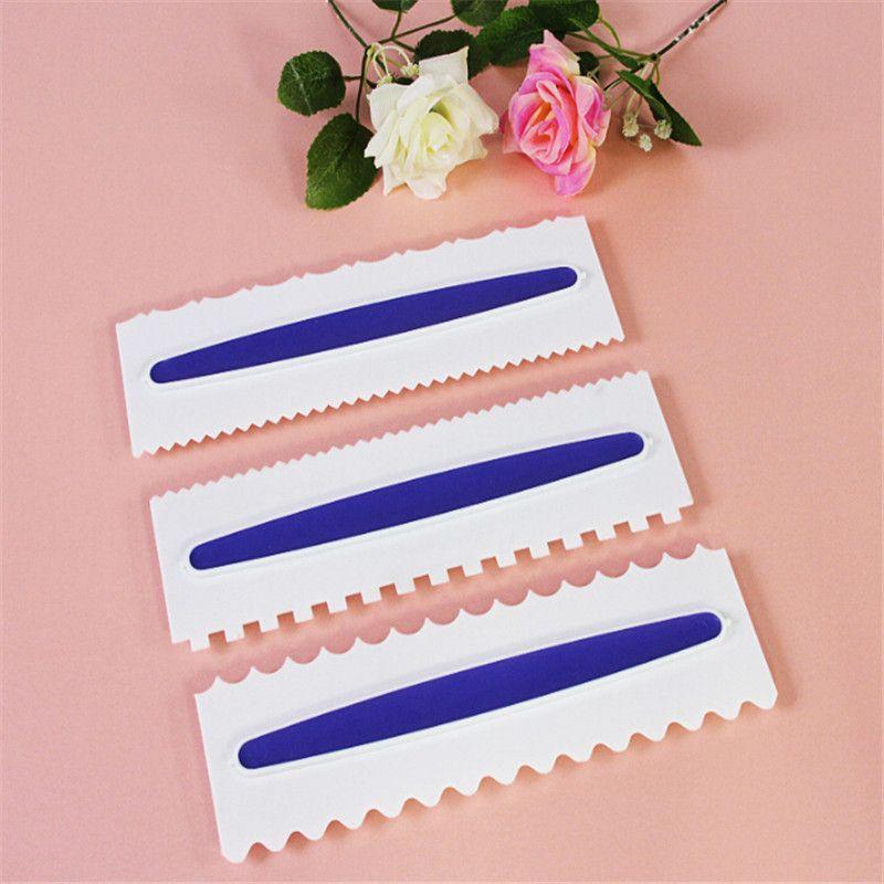 3pcs Purple Pastry Icing Comb Set Plastic Fondant Spatulas Gift Scraper Baking Decorating Tool Gift Kitchen Bakeware Tool