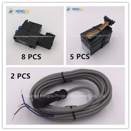 heidelberg parts 8 pcs Solenoid valve M2.184.1121/05, 5 pcs ink key motor 61.186.5311/03, and 2 pcs sensor M2.198.1563