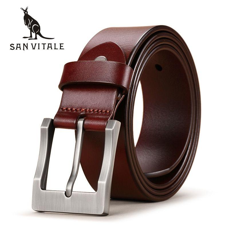 SAN VITALE 2017 Belt Men Genuine Leather Luxury Strap Belts for Male Buckle Fancy Vintage Jeans Cintos <font><b>Masculinos</b></font> Ceinture Homme