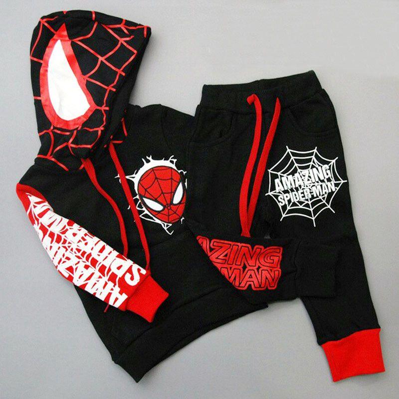 Spiderman enfants garçons vêtements ensemble bébé garçon Spider homme sport costumes 2-6 ans enfants 2 pièces ensembles printemps automne vêtements survêtements