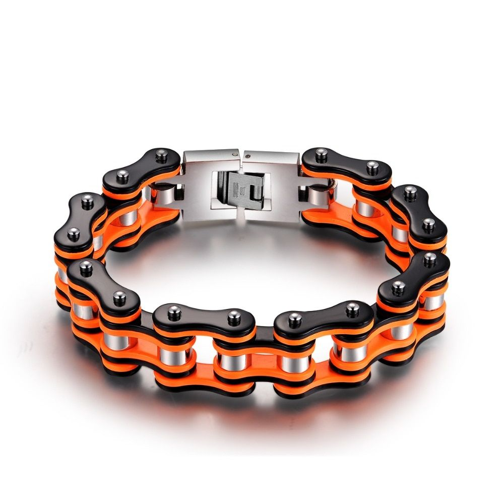 Hot Sale Orange black Motorcycle Chain Bracelets Top quality 316L Stainless Steel Men's bracelets 16mm width SDA Jewelry YM079