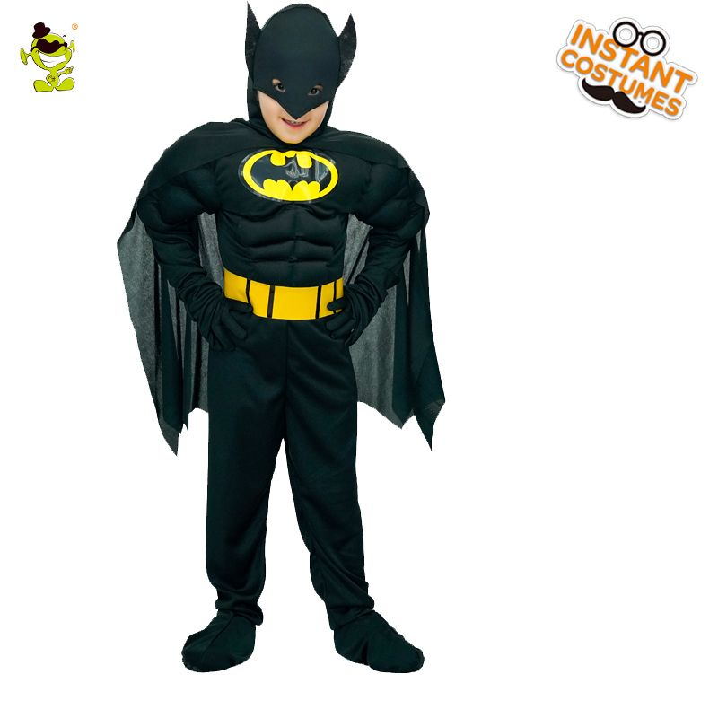 Kids Muscle Batman Costumes Boys Movie Character Brave Superhero Imitation Masquerade Party Cool Superman Role Play Costumes