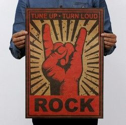 Keep On Rock Gesture Vintage Kraft Paper Movie Poster Home School Office Wall Decoration  Art  Retro Posters and Prints