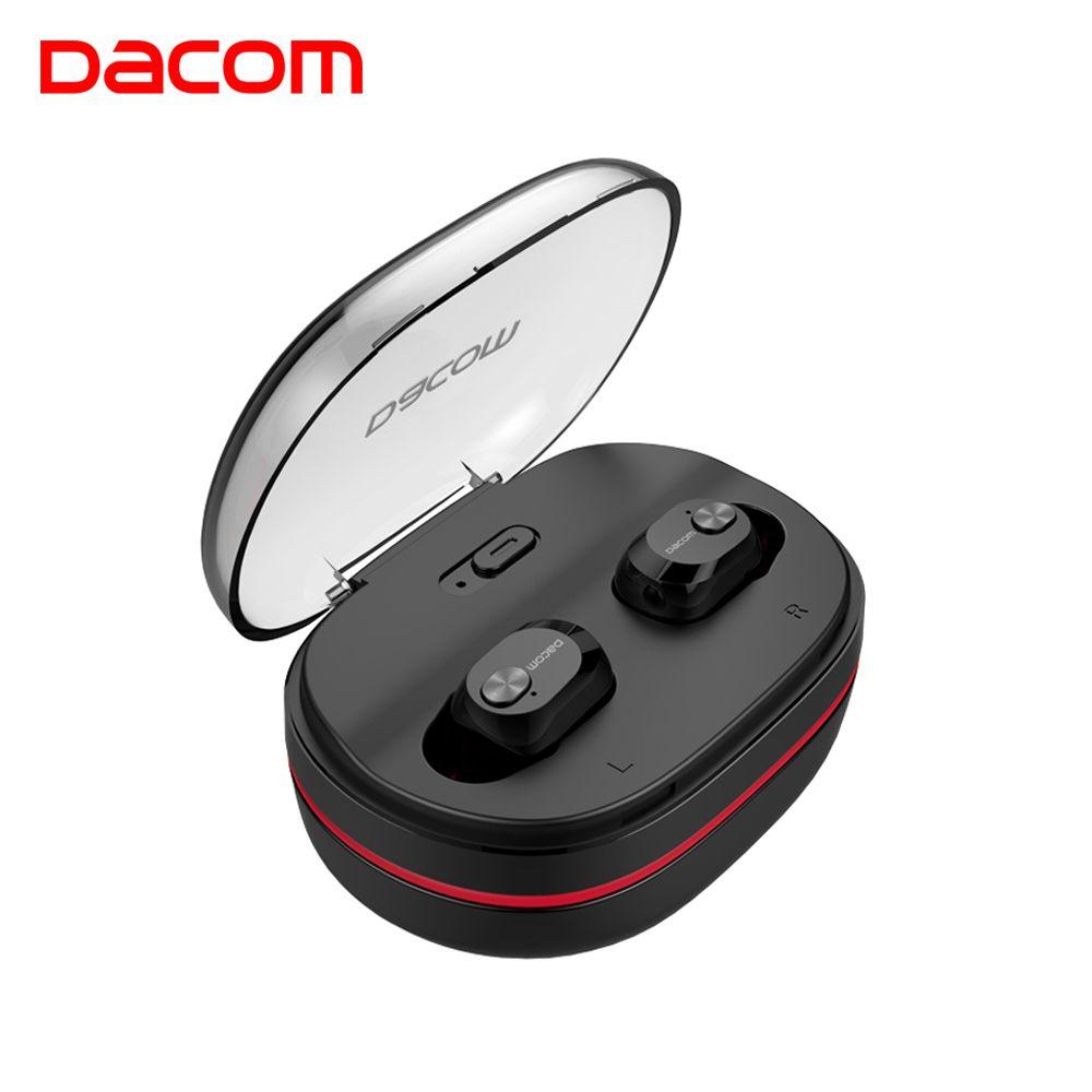 DACOM Mini TWS Bluetooth Earphones with Mic True Wireless Stereo Earbuds In-ear Earpiece w/Charging Dock for Phone iPhone Xiaomi
