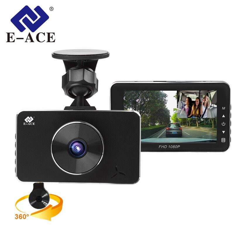 E-ACE 2018 New Mini Car Camara Novatek 96658 Full HD 1080P Car Dvrs With Two Camaras 360 Degree Video Recorder Night Vision