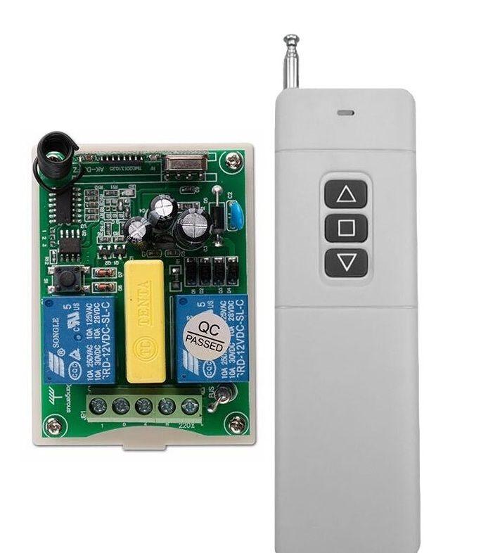 AC 220V 2CH RF 100-3000m Long Range Wireless Remote Control  Receiver+Transmitter tubular motor garage door projection screen