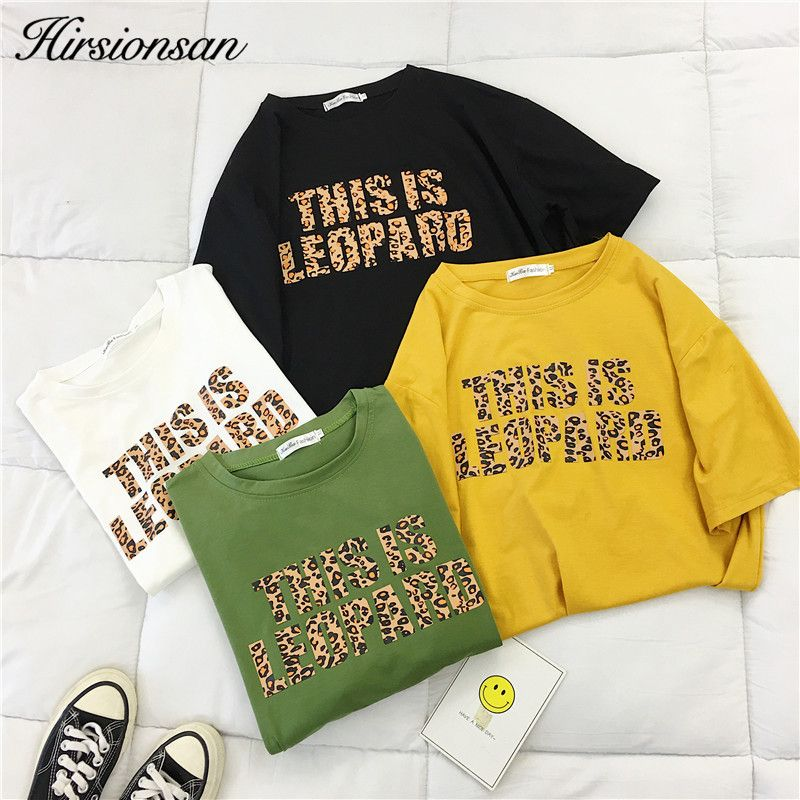 Hirsionsan Leopard T Shirt Women 2019 Summer Loose O-Neck Short Sleeve Letters Printed Tops Harajuku Chic Cotton Woman Tshirts