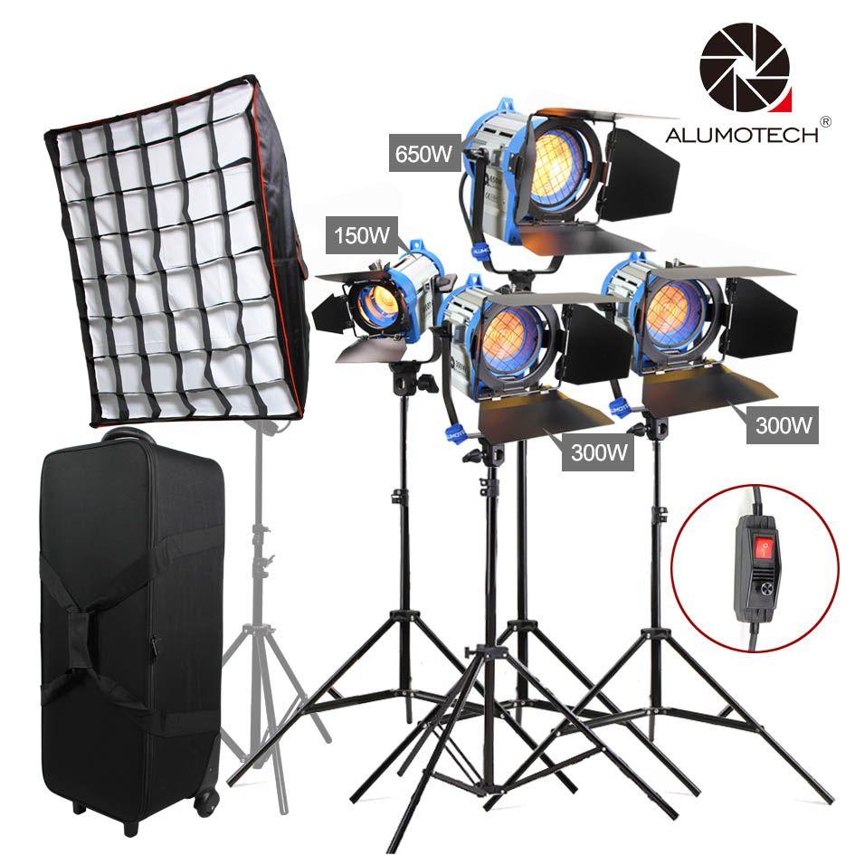 ALUMOTECH Wie ARRI 150 W + 300Wx2 + 650 W Fresnel Wolfram Spot Licht + Steht * 4 + Softbox + fall Mit Räder Lampe Kit Für Fotografie Sutdio