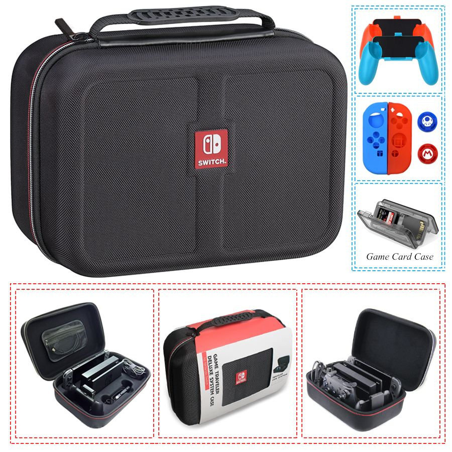 Nintend Switch NS Console Carrying Storage Bag Hard Case Joystick Handle Grips + Silicone Case for Nintendo Switch Accessories