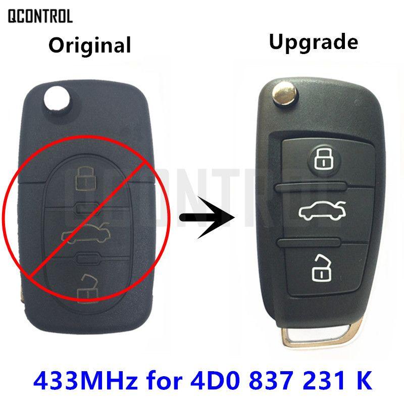 QCONTROL Car Remote Key Upugraded for AUDI 4D0837231K A6 S6 RS6 A8 TT 433.92MHz 1996 - 2006 4D0 837 231 K