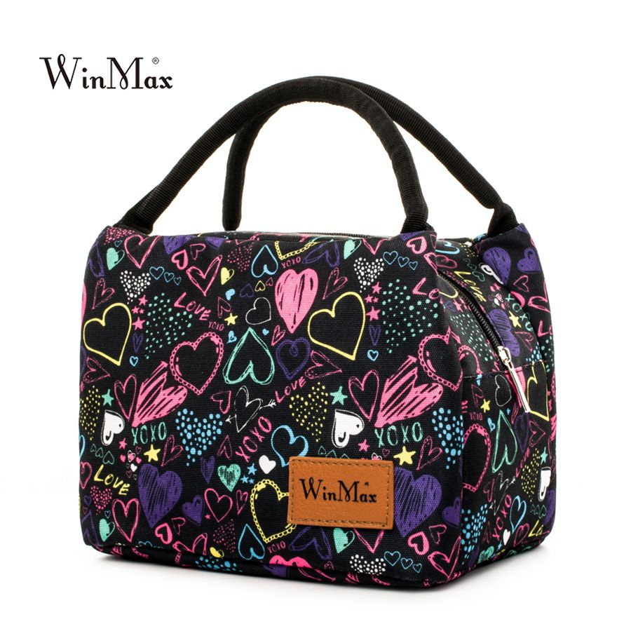 Winmax Fashion Printing Insulated Thermal Food Fresh Lunch Bags for Factory Portable Women Kids Picnic Cooler Lunch Box Tote Bag