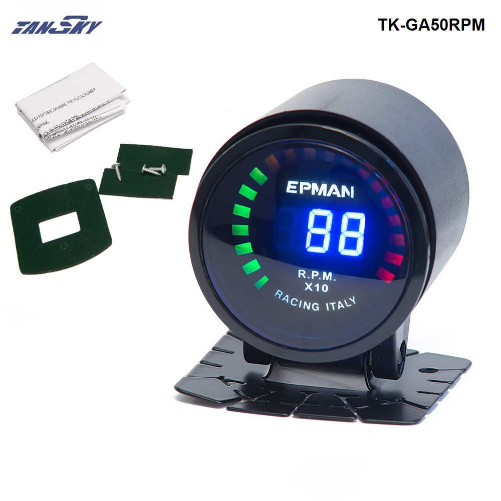 TANSKY -2015 New EPman racing 52mm Smoked LED RPM Tacho Tachometer Gauge Meter with bracket For Ford Mustang 01-07 TK-GA50RPM
