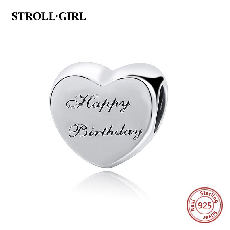 Coeur Joyeux Anniversaire Perles Fit Pandora Bracelets Argent 925 Charmes Originaux Authentiques Cadeaux de Fabrication de Bijoux pour L'anniversaire