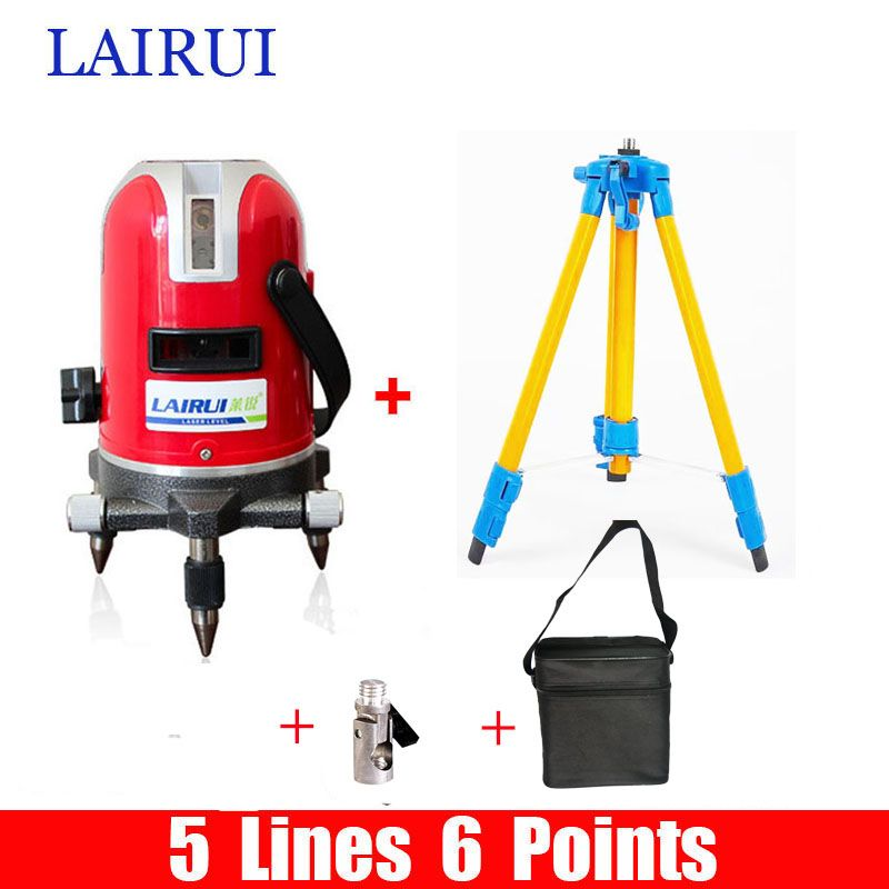lairui brand 5 lines 6 points laser level 360 degree <font><b>rotary</b></font> cross laser line level 635nm with outdoor mode tripod available