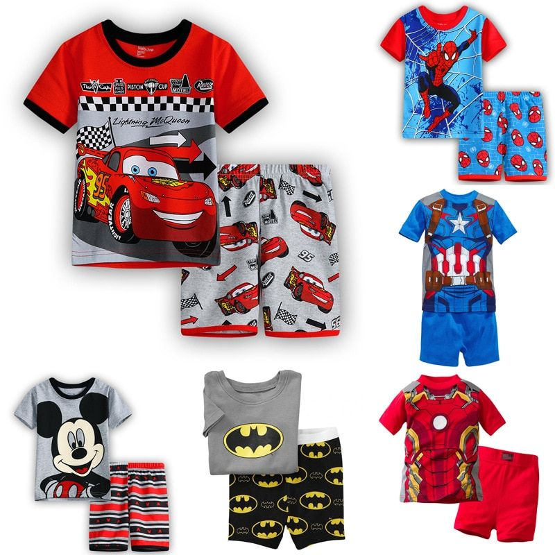 Children's Pajamas Summer Short-sleeved tshirt + shorts sports set Kids Pyjamas Boys Girls Pajamas Baby Sleepers Sleepwear 2-7T