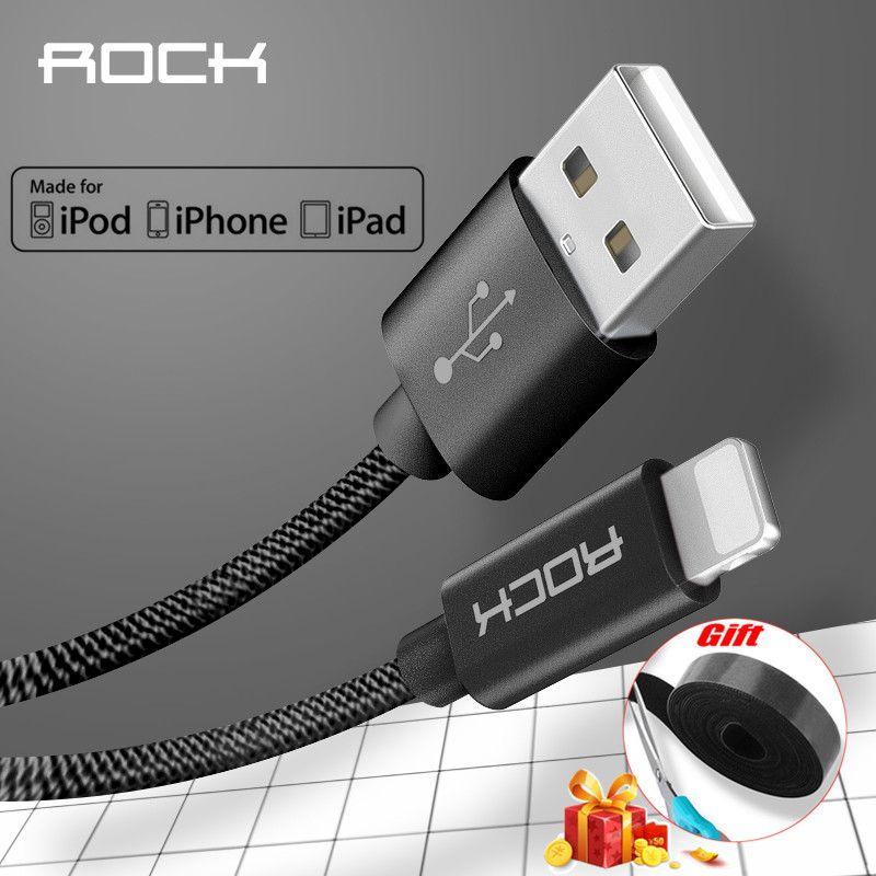 Câble USB en métal ROCK 2.4A pour iPhone 5 SE 6 6s 7 8 plus X XS XR XS MAX 8 7 Fibre de tresse en Nylon iPad charge rapide pour câble iPhone