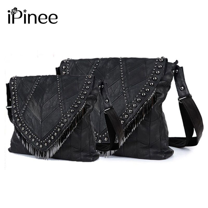 iPinee All-match Genuine Leather Women Handbags Designer Tassel Female Shoulder Bags Rivet Bag