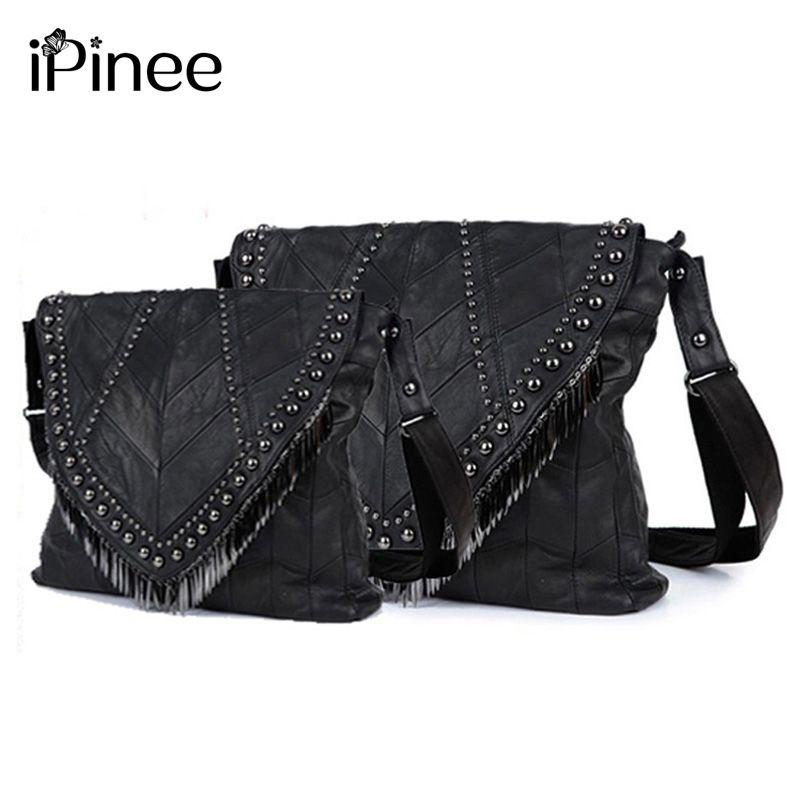 iPinee All-match Genuine Leather Women Handbags Designer Tassel Female Shoulder Bags Rivet Bag